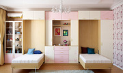 Стенка с двумя шкаф кроватями (вертикальная)